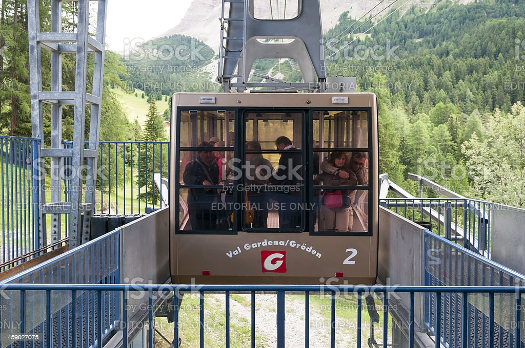 Val Gardena cable car royalty-free stock photo