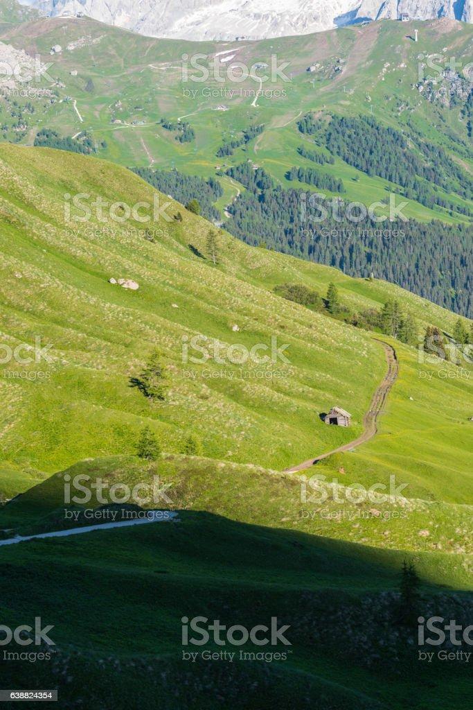Val Gardena dolomites stock photo