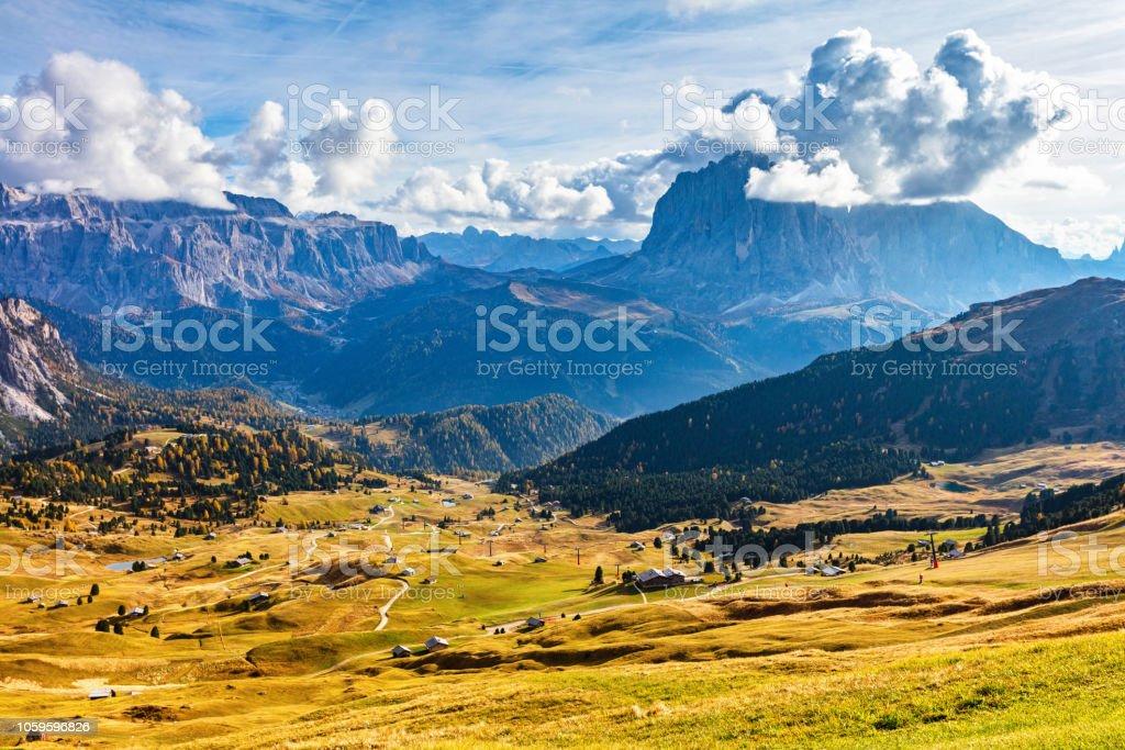 Val Gardena mountain view in Dolomite Alps stock photo
