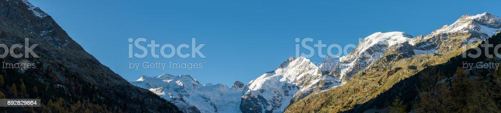 Val Morteratsch and the Bernina mountains stock photo