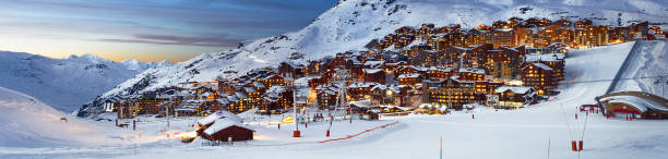 Val Thorens in France Panorama of famous Val Thorens in french alps by night, Vanoise, France