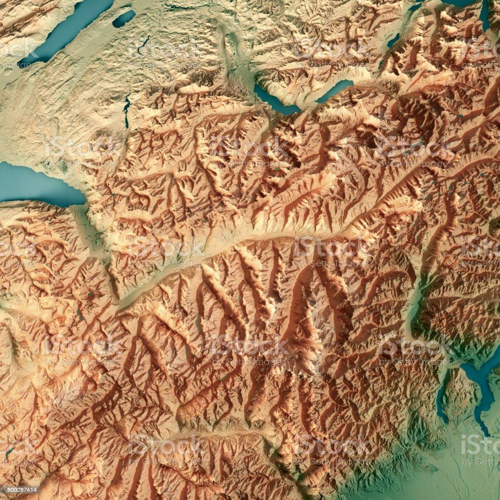 Valais Canton Switzerland 3d Render Topographic Map Stock Photo