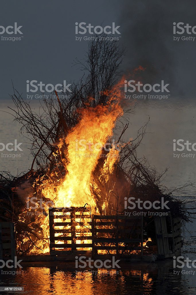 Valborg fire over the Oresund royalty-free stock photo