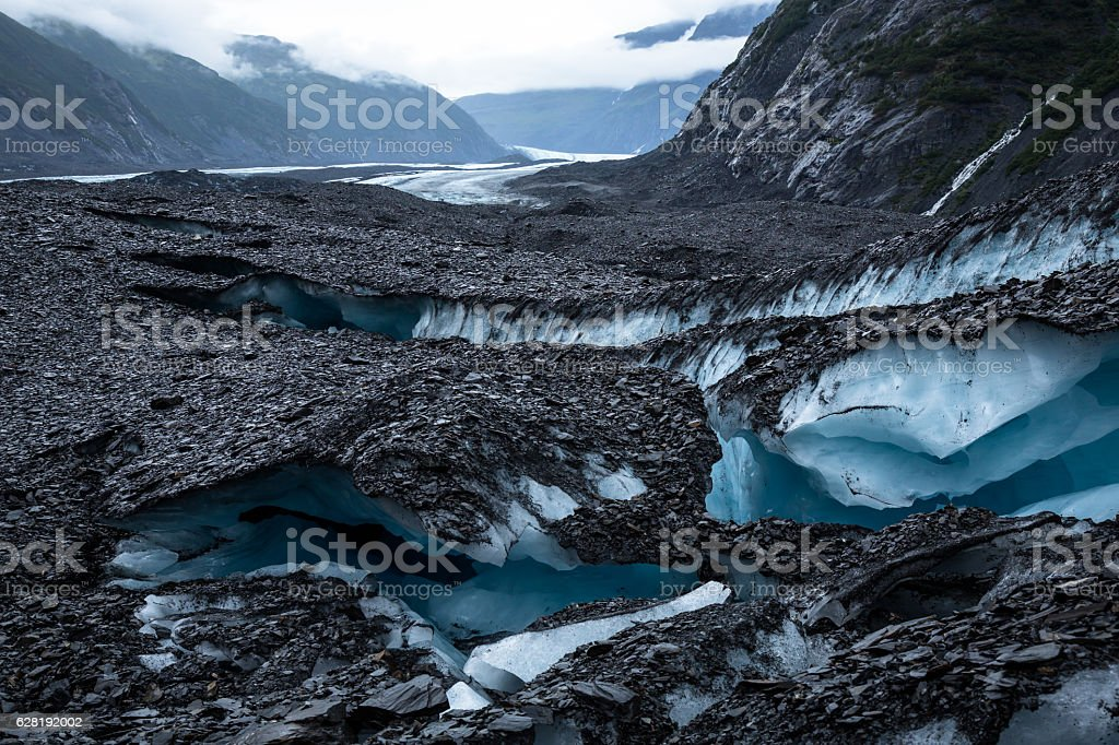 Valdez Glacier Crevasses stock photo