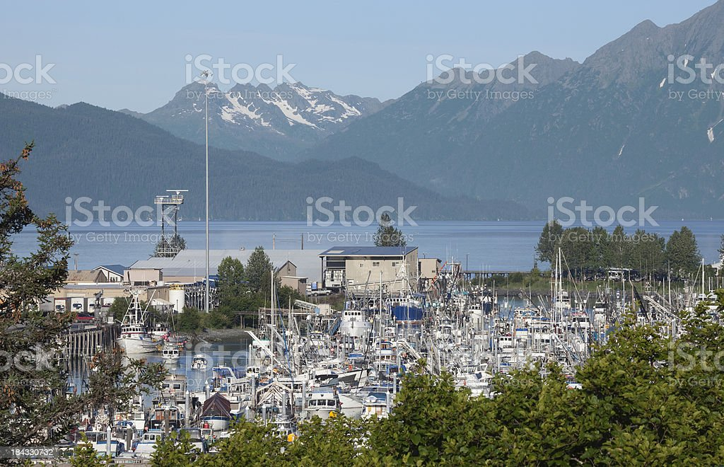 Valdez' Small Boat Harbor and beautiful mountains in background. stock photo
