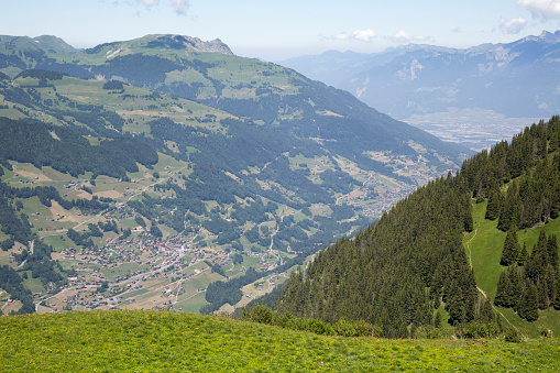 Val-d'Illiez and surrounding mountains seen from the trail to Lacs d'Antème (Swizerland)