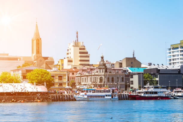 Valdivia, view from water stock photo