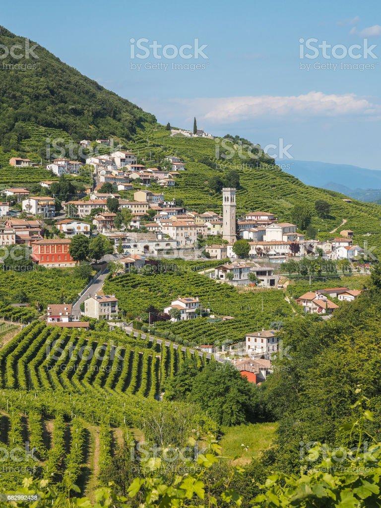 Valdobbiadene town and Prosecco vineyards in Veneto stock photo