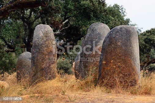 istock Vale de Maria do Meio cromlech - megalithic complex with 30 menhirs arranged in eliptical shape, Évora, Alentejo, Portugal 1031519828