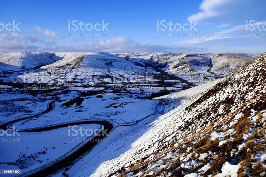 Vale of Edale in Winter, Derbyshire, UK. stock photo