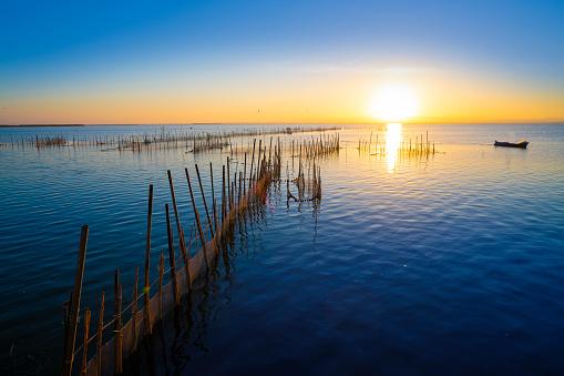 Valencia albufera lake at evening with boat