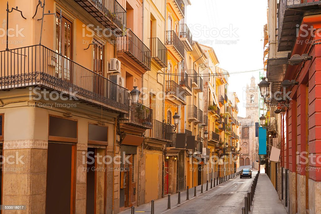 Valencia Bolseria Street in Barrio del Carmen downtown stock photo