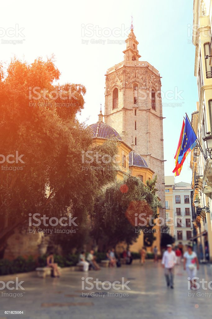 Valencia Cathedral from Plaza de la Virgen stock photo