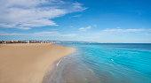 Valencia city beach Malvarrosa Las Arenas clear water in Mediterranean Spain Costa de Azahar