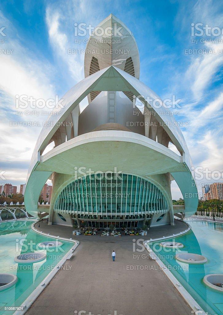 Valencia cityscape featuring the Opera house, at the arts centre. stock photo