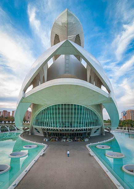 valencia cityscape featuring the opera house, at the arts centre. - valencia stockfoto's en -beelden
