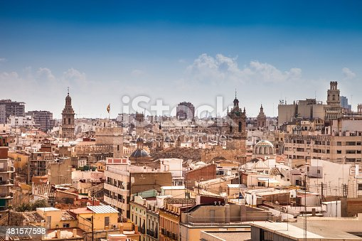 Valencia cityscape in a beautiful day, Spain.