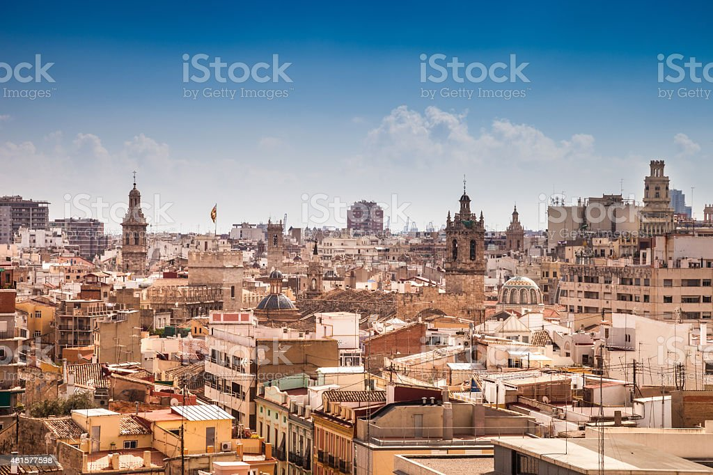 Valencia cityscape in a beautiful day stock photo