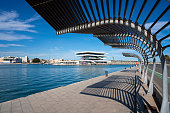 Valencia coty port skyline in sunny day with blue sky at Mediterranean Spain