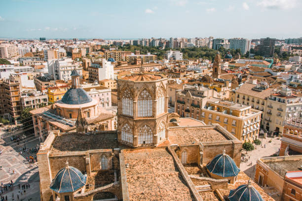 Valencia, Spain, as seen from above stock photo