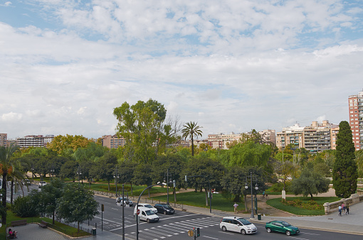 Valencia, Spain, September, 08, 2015, view from tower Serranos, editorial.