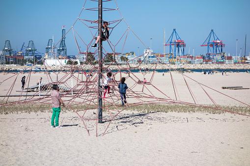 Valencia, Spain,January,5,2016: rubber pyramid on the beach