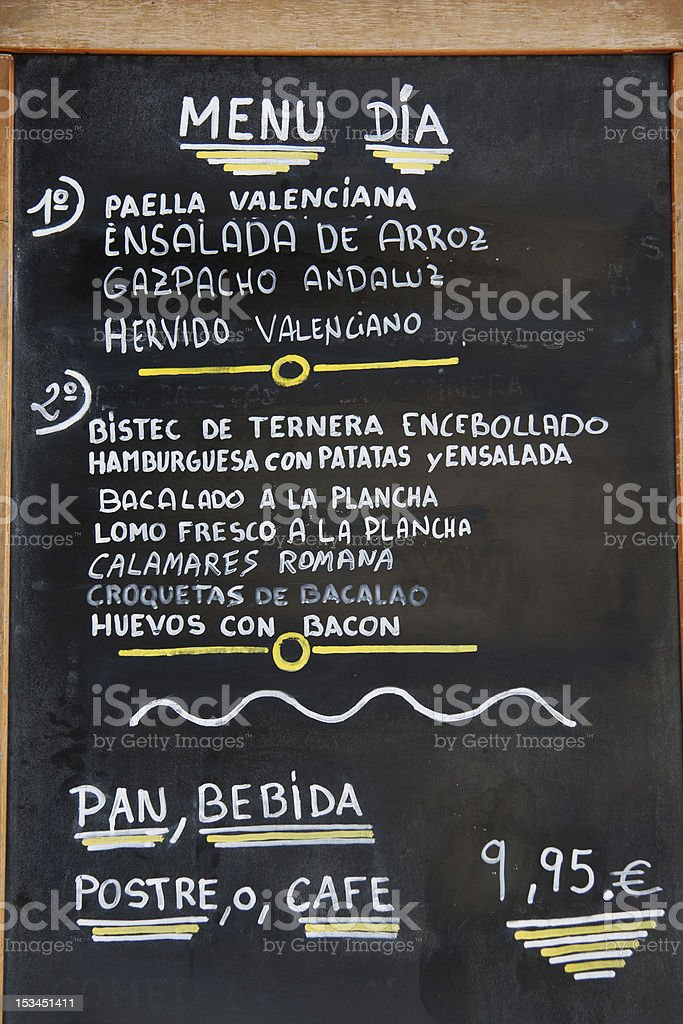 Valencia Spanish Menu Del Dia Stockfoto En Meer Beelden Van Close Up