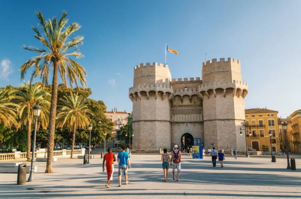 Valencia The Serrans Gate or Serranos Gate, in Spain stock photo