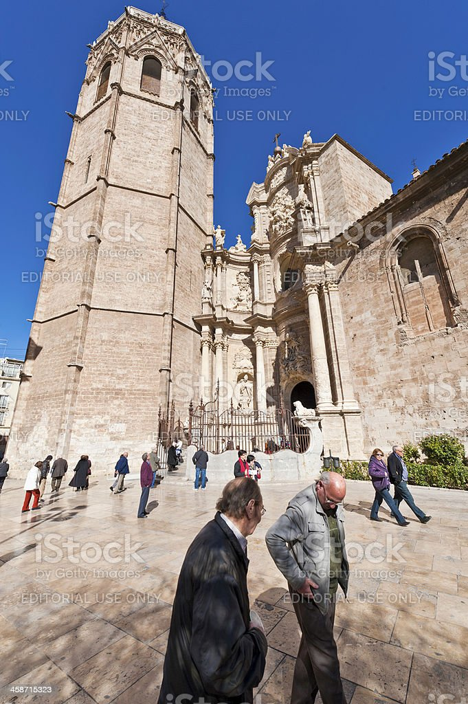Valencia tourists in Plaza de la Reina below Miguelete Spain royalty-free stock photo