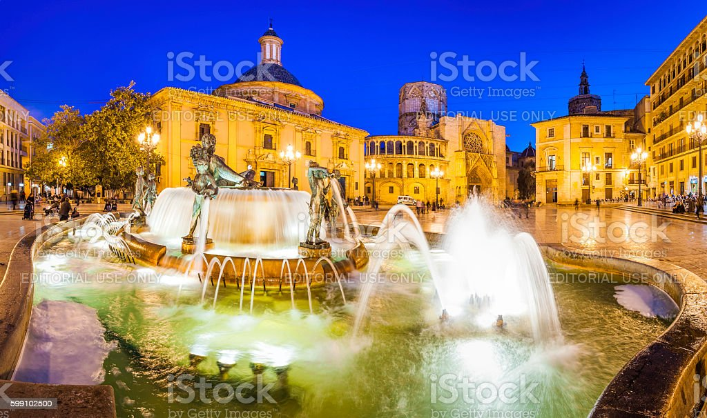 Valencia Turia fountain Plaza de la Virgen illuminated night Spain stock photo