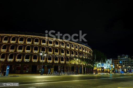 Valencia, Spain; 29th Mar 2020: Illuminated facade of the Bullring at night, an emblematic place of Valencia, during the coronavirus pandemic