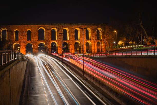 Valens Aqueduct at Night, Istanbul, Turkey stock photo