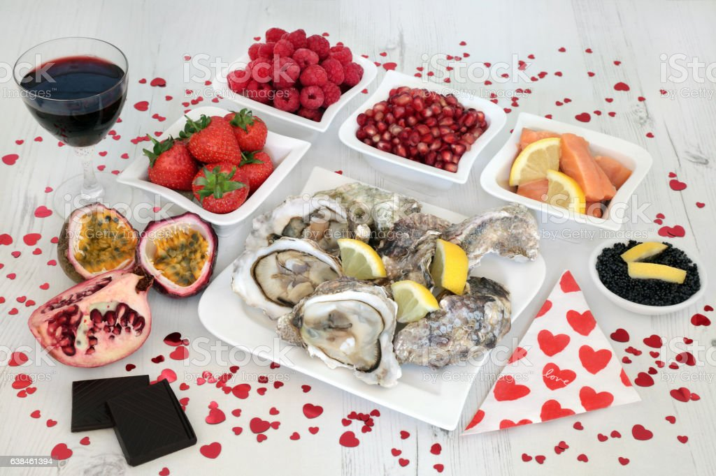 Valenties Day Aphrodisiac Food stock photo