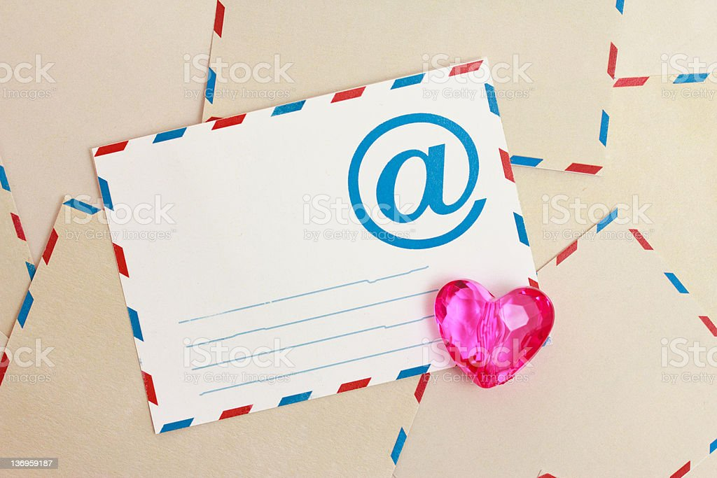 Valentine background from airmail e-mail paper and heart stock photo