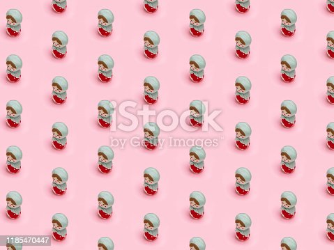 Valentine background, Girls theme, Isometric pattern photographed, cute Russian Matryoshka dolls on a light pink background, wrapping paper, postcard, wallpaper