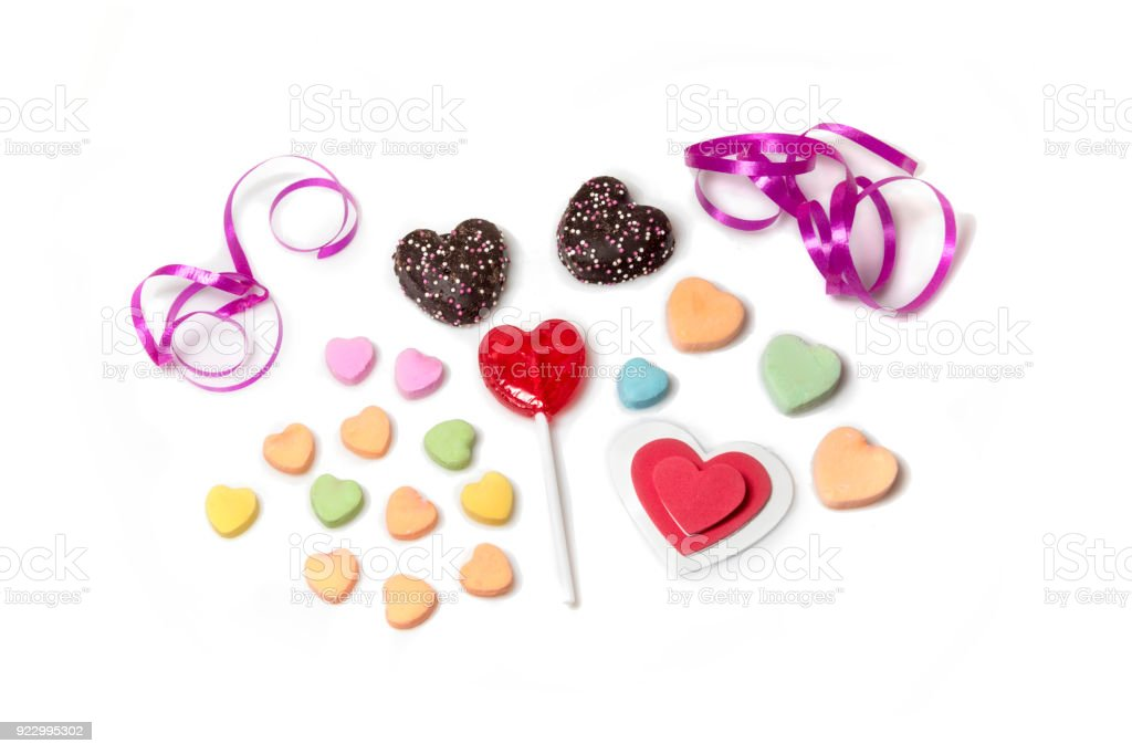 Valentine candy hearts on white background stock photo