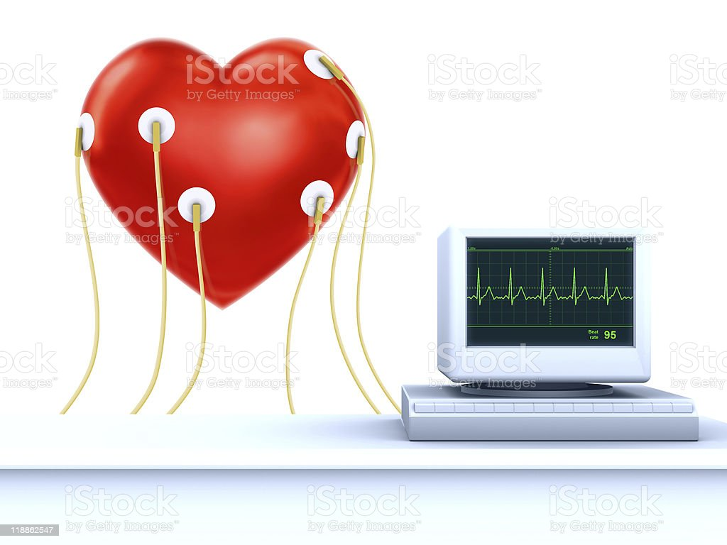 valentine card concept - Heart cardiogram royalty-free stock photo