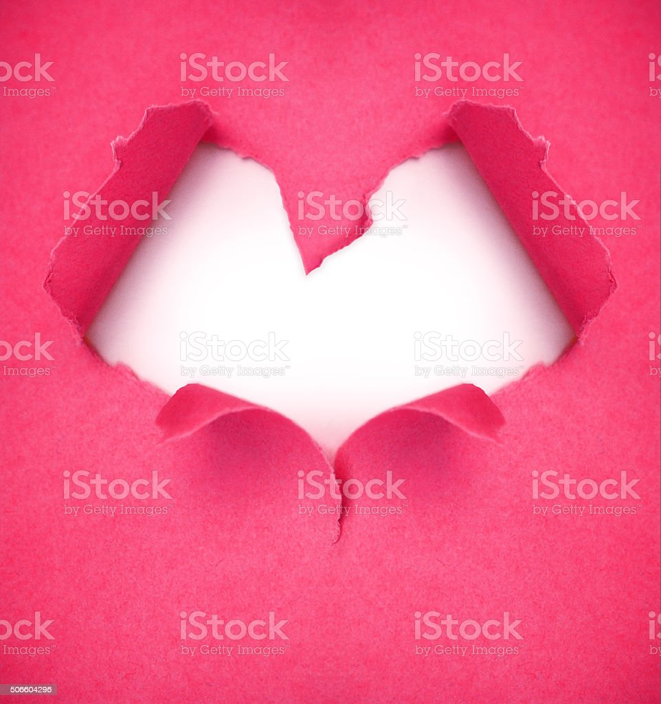 valentine card from a torn dark pink paper heartshaped stock photo