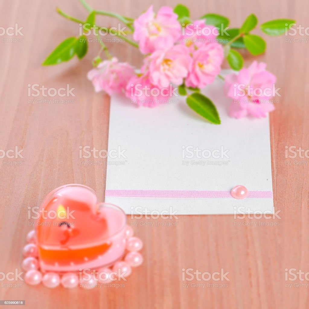 Valentine Card Of Pink Heart Shaped Candle And Bouquet Rose Stock