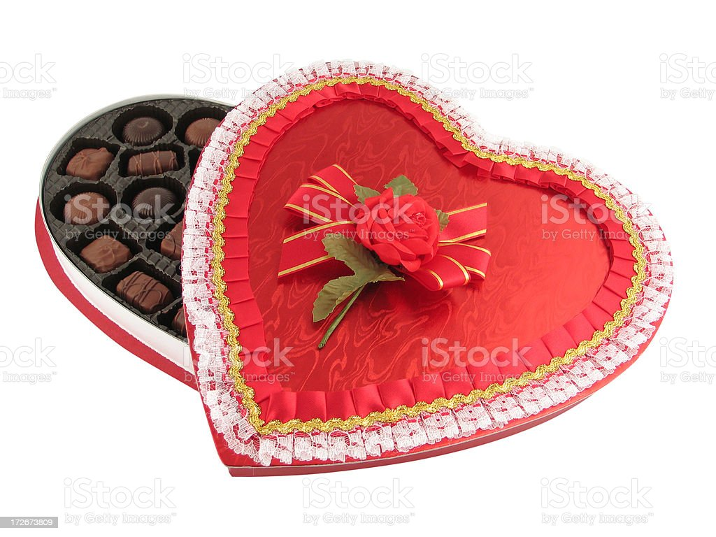 Valentine Chocolates (with clipping path) royalty-free stock photo