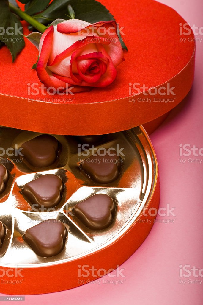 Valentine cholocate box with rose royalty-free stock photo