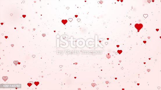 Valentine concept with red hearts shape flowing on red background For St. Valentine's Day, Mother's Day, wedding anniversary greeting cards, wedding invitation or birthday.
