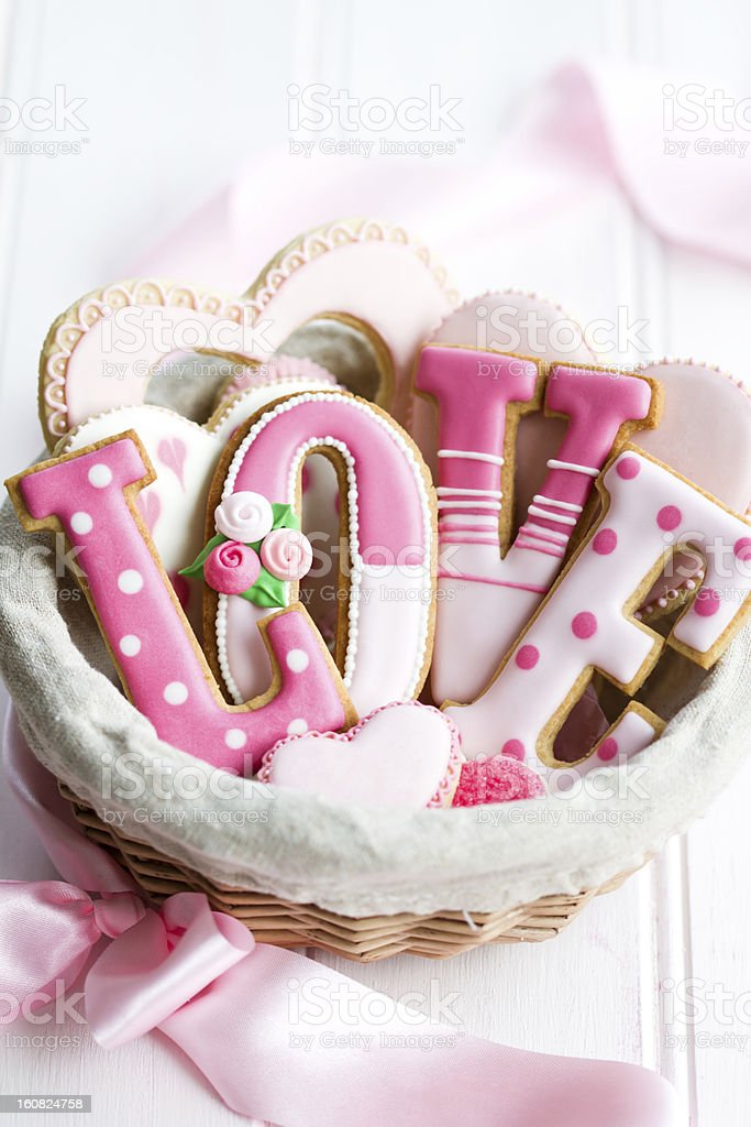 Valentine cookie gift basket royalty-free stock photo