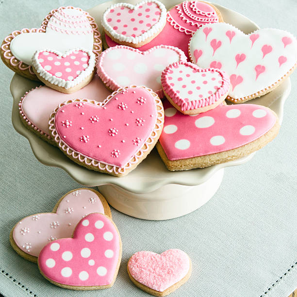 Valentine cookies Cake stand filled with Valentine cookies sugar cookie stock pictures, royalty-free photos & images