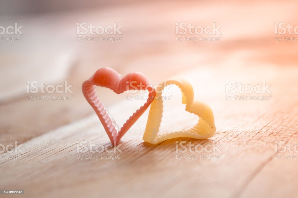 Valentine Day 2 Hearts On Wooden Backgrounds Royalty Free Stock Photo
