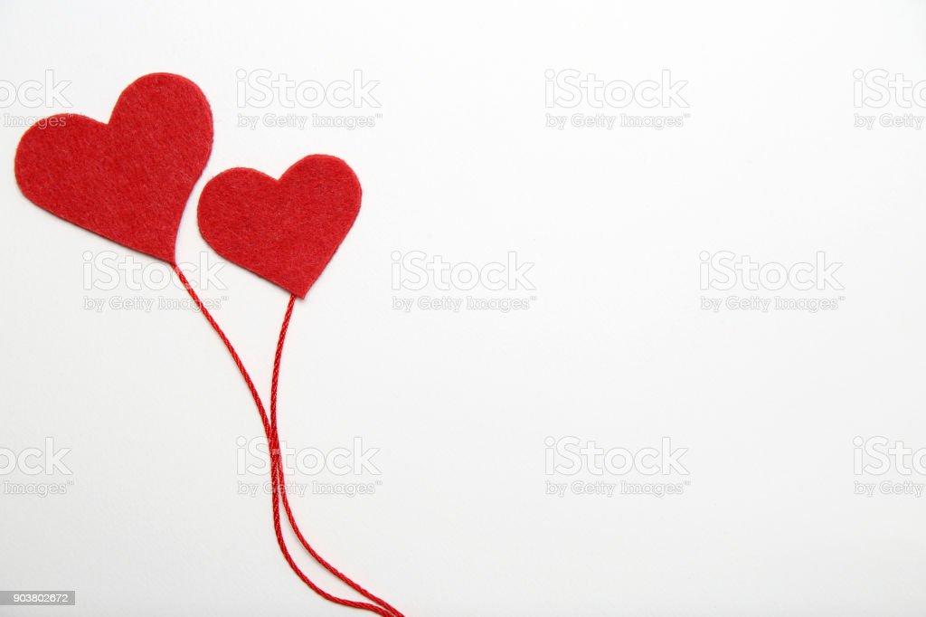 Valentine Day Background Felt Hearts Border On White Background