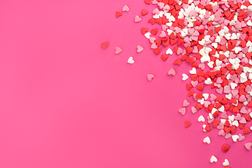 Valentine day background with hearts, top view