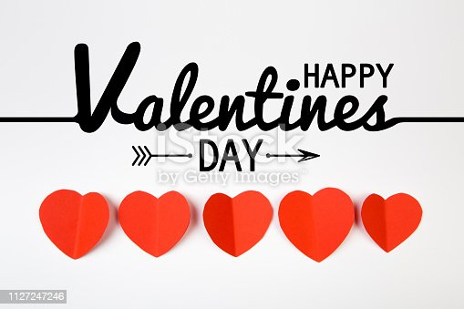 Valentine day background with red hearts, top view - Image
