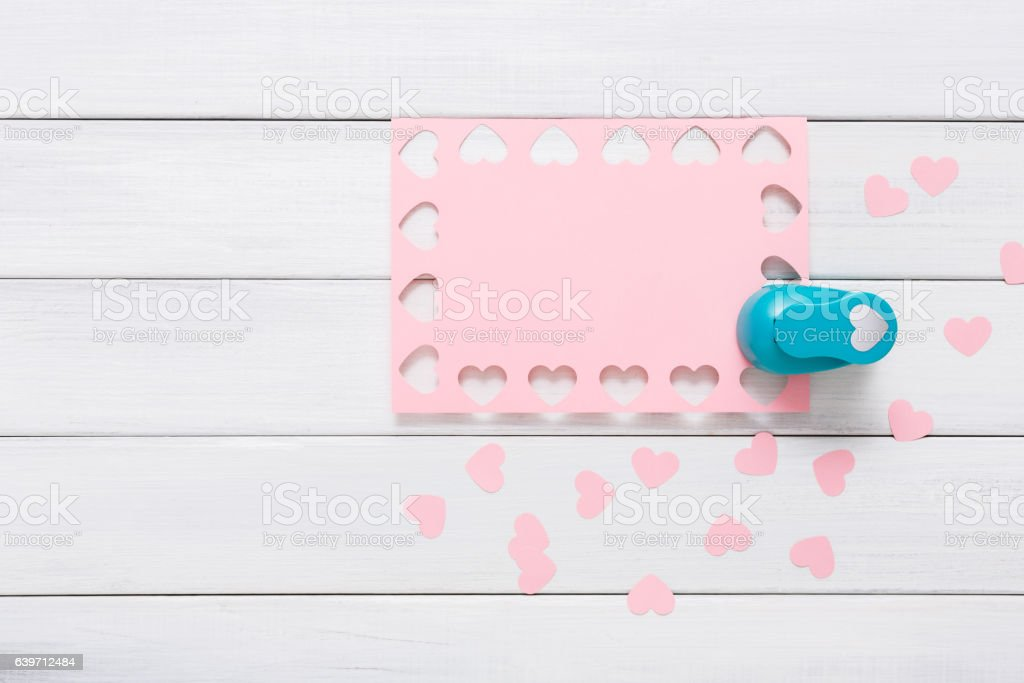 Valentine Day Card Craft Scrapbooking Background Hole Punch Heart