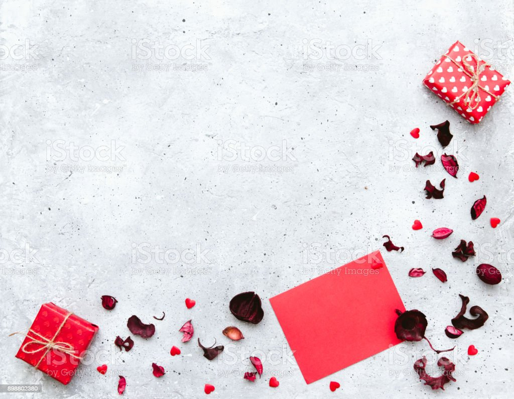 Valentine Day Composition Gift Boxes With Card Template Flat Lay